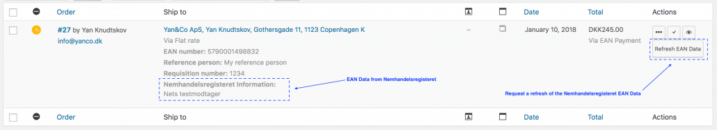 Woocommerce EAN Payment Gateway Nemhandelsregisteret Data